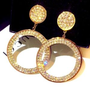 Big Gold Plated Rhinestone Circle Earrings